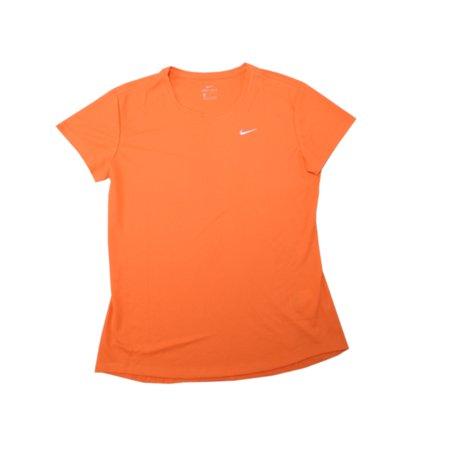 Nike, Inc. Dry Womens Size Large Short Sleeve Performance Dri-Fit Active Shirt Tee, Orange (842)