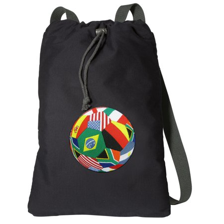 Canvas World Cup Fan Backpack Natural Cotton Soccer Cinch Bag Lined and with Wide Straps