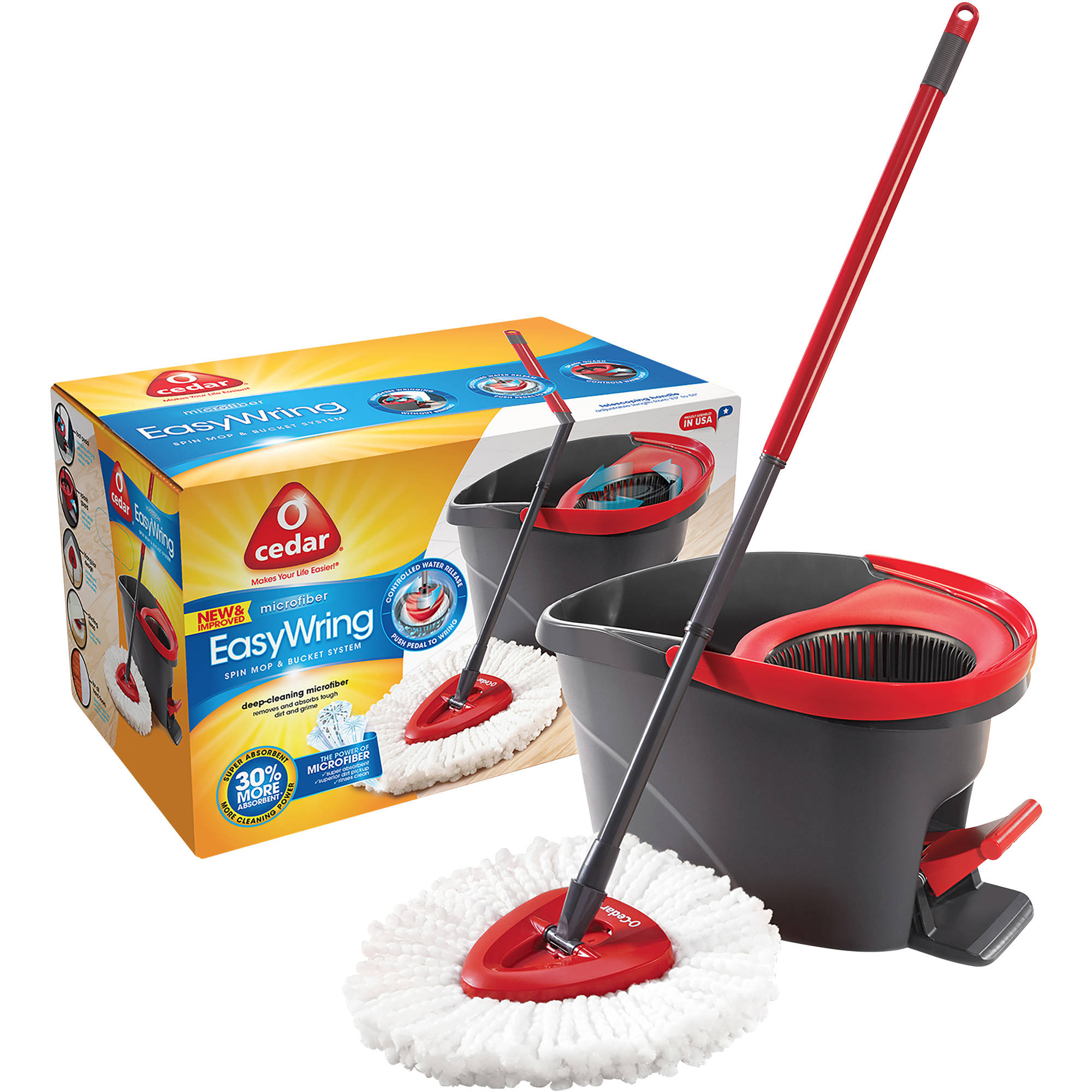 O-Cedar Microfiber EasyWring Spin Mop & Bucket System, 3 pc