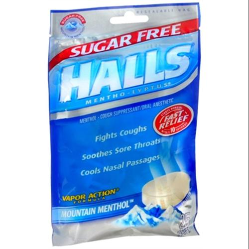 Halls Mentho-Lyptus Drops Sugar Free Mountain Menthol 25 Each (Pack of 2)