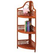 Wicker 3 Tier Corner Storage Shelf XL