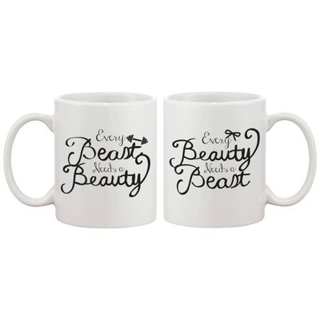 365 Printing Inc 2 Piece Every Beauty and Beast Needs Each Other Couple Matching 11 oz. Mug - Beauty And The Beast Teapot Set