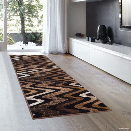 - Chocolate AllStar Modern Runner. Contemporary Woven Area Rug. Drop-Stitch Weave Technique. Carved Effect (2' 0