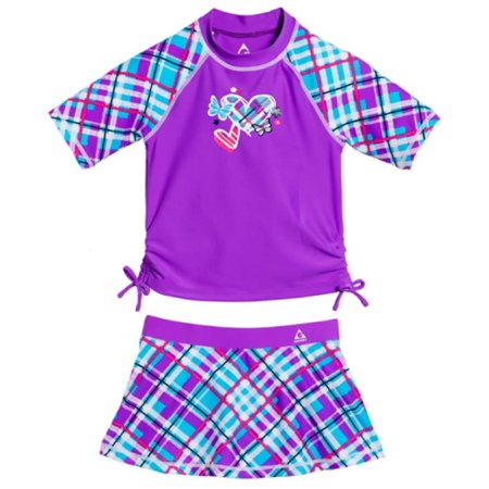 ea9f600005 Gerry - Gerry Girls  50+ UPF Sun Protection Rash Guard and Skort Swim Set  (Orchid Plaid