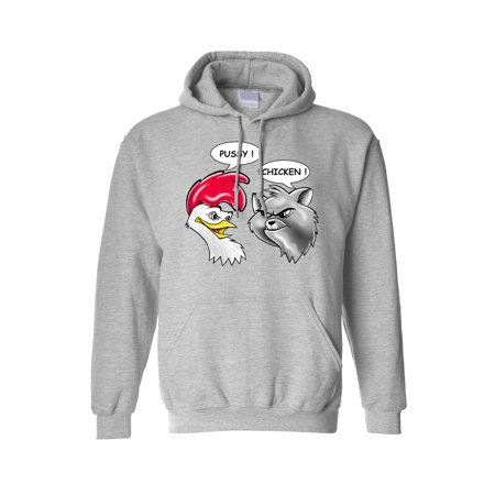 Men's/Unisex Pullover Hoodie Funny Pussy! Chicken! Cat Rooster Adult - Chicken Hoodie