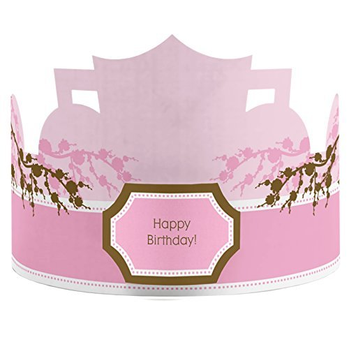 Cherry Blossom - Crown Happy Birthday Party Hats - 8 Count