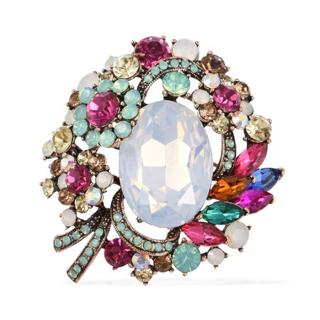 Glass Multi Color Crystal Brooch in Goldstone for Women Jewelry -