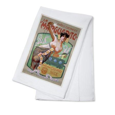 Pates Ozonees La Marguerite Vintage Poster (artist: Simonetti) France (100% Cotton Kitchen Towel)