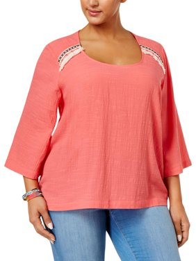 5e90a74e5 Product Image Melissa McCarthy Seven7 Womens Plus Embroidered Trim Hi-Low  Peasant Top Pink 1X