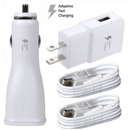 OEM Adaptive Charger Set Compatible with ZTE Blade X Max Cell Phones - [1 x USB Wall + 1 x USB Car Charger + 2 x Type-C Cable] - 50% Faster Charging - White - image 1 of 9