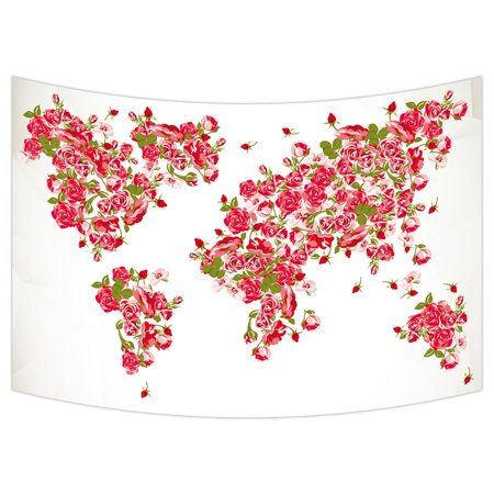 Ykcg vintage floral rose world map red pink color fabric antique ykcg vintage floral rose world map red pink color fabric antique world map rose flower wall hanging tapestry wall art 40x60 inches gumiabroncs Images