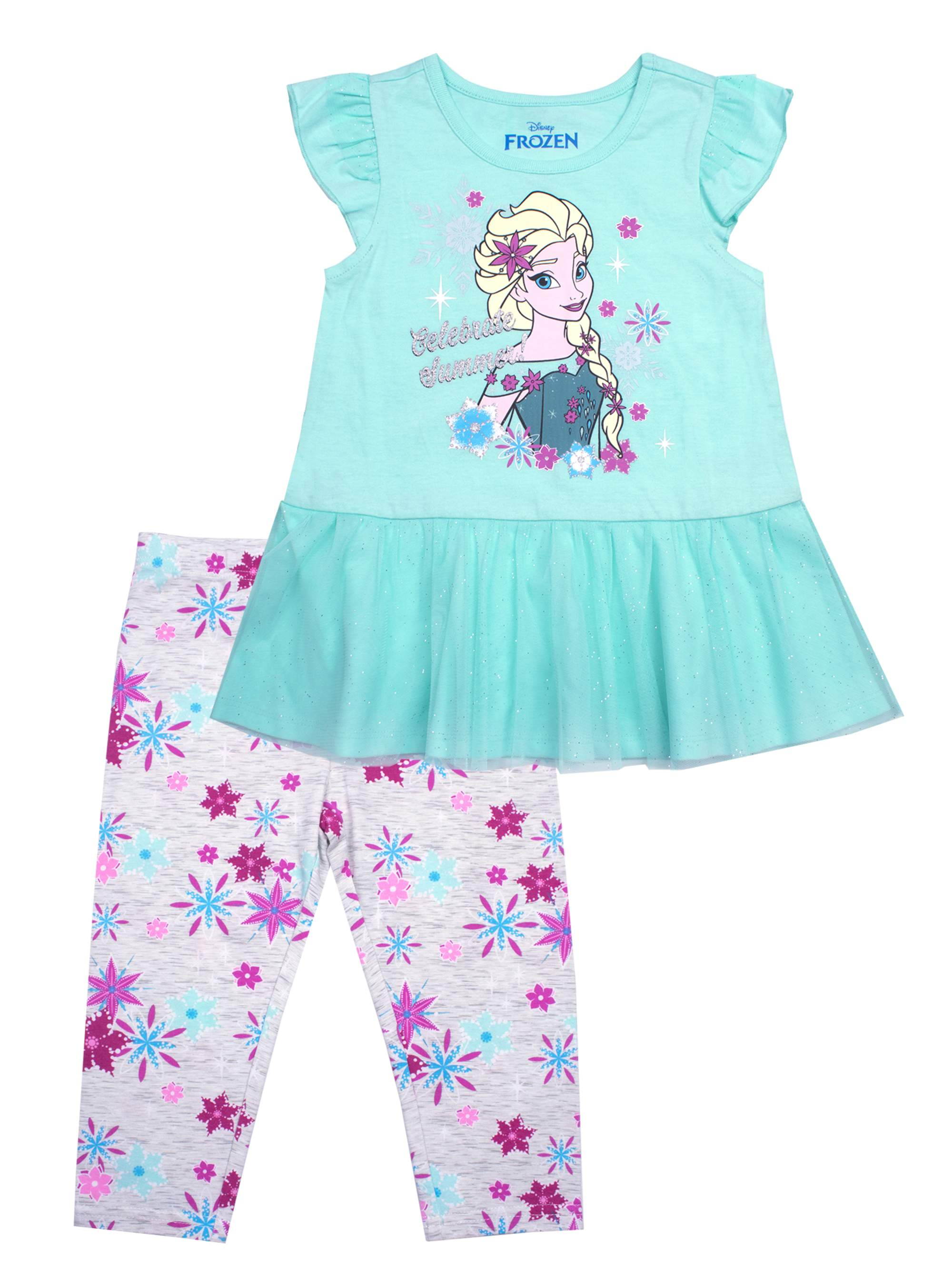 Elsa Tulle Hem Top and Legging, 2-Piece Outfit Set (Little Girls)