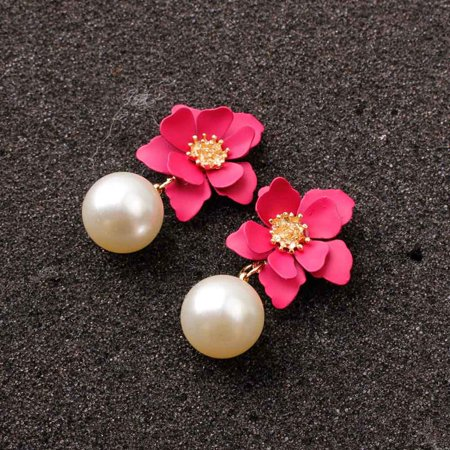 AkoaDa New Short Earrings Womenand#39;S Fashion Pearl Earrings Jewelry Sweet Flower Earrings Personalized Earrings Drop Dangle Earrings Party Statement Jewelry