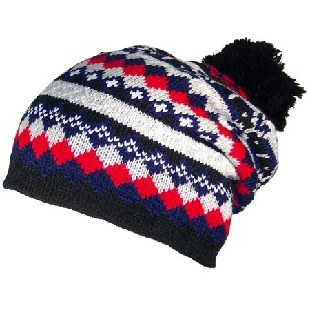 Best Winter Hats Adult Multi-Color Jacquard Winter Hat W/Large Pom (One Size) -