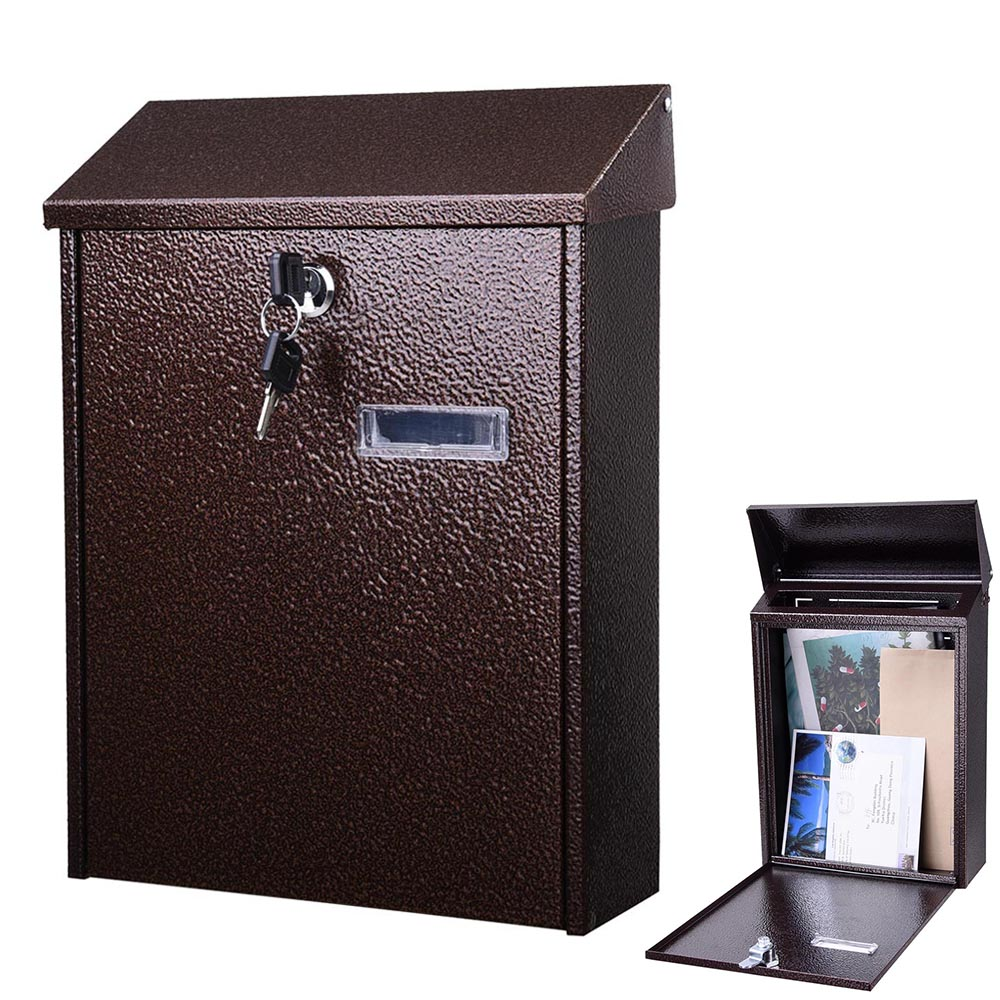 Yescom Wall Mount Steel Mail Box Lockable Letterbox w/ Retrieval Door & 2 Keys Home Office Post Security Outdoor