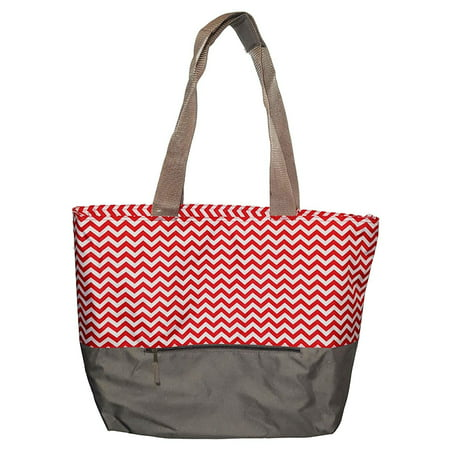 XL Beach Tote Chevron Print Weekender Bag with Mesh Webbed Handles and Outer Zippered PocketCan Be Personalized (Blank, Red) Performance Weekender Tote