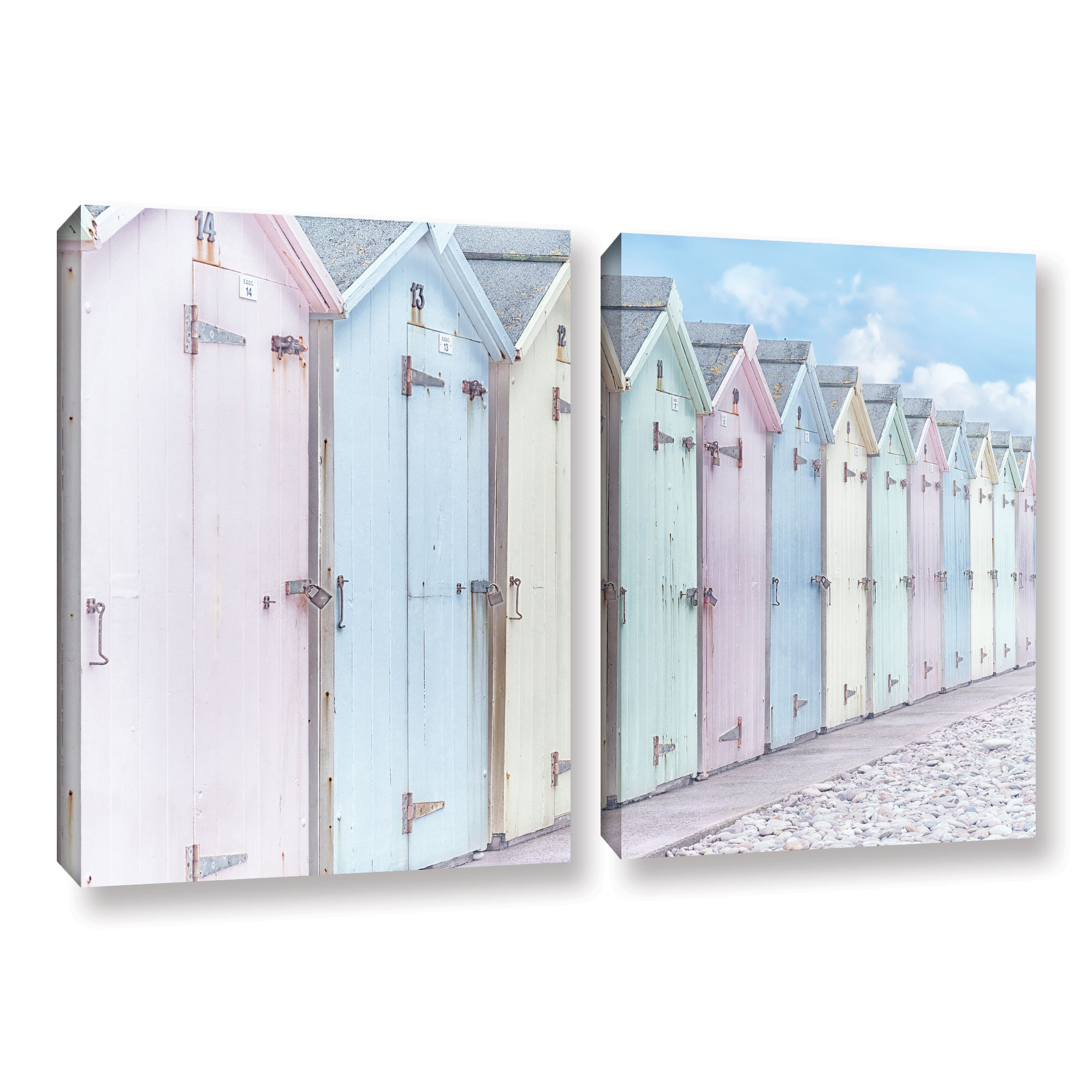 Sea Side Beach Cabins I' Gallery wrapped Canvas Art Print
