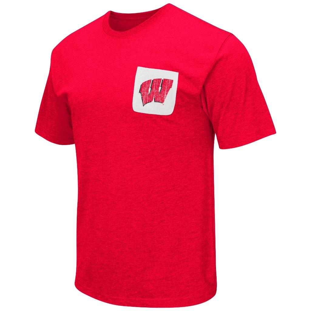 "Wisconsin Badgers NCAA ""Banya"" Men's Dual Blend S/S Pocket T-Shirt"