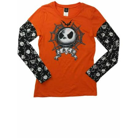 Womens Nightmare Before Christmas Jack Skellington Long Sleeve Tee Shirt T-Shirt