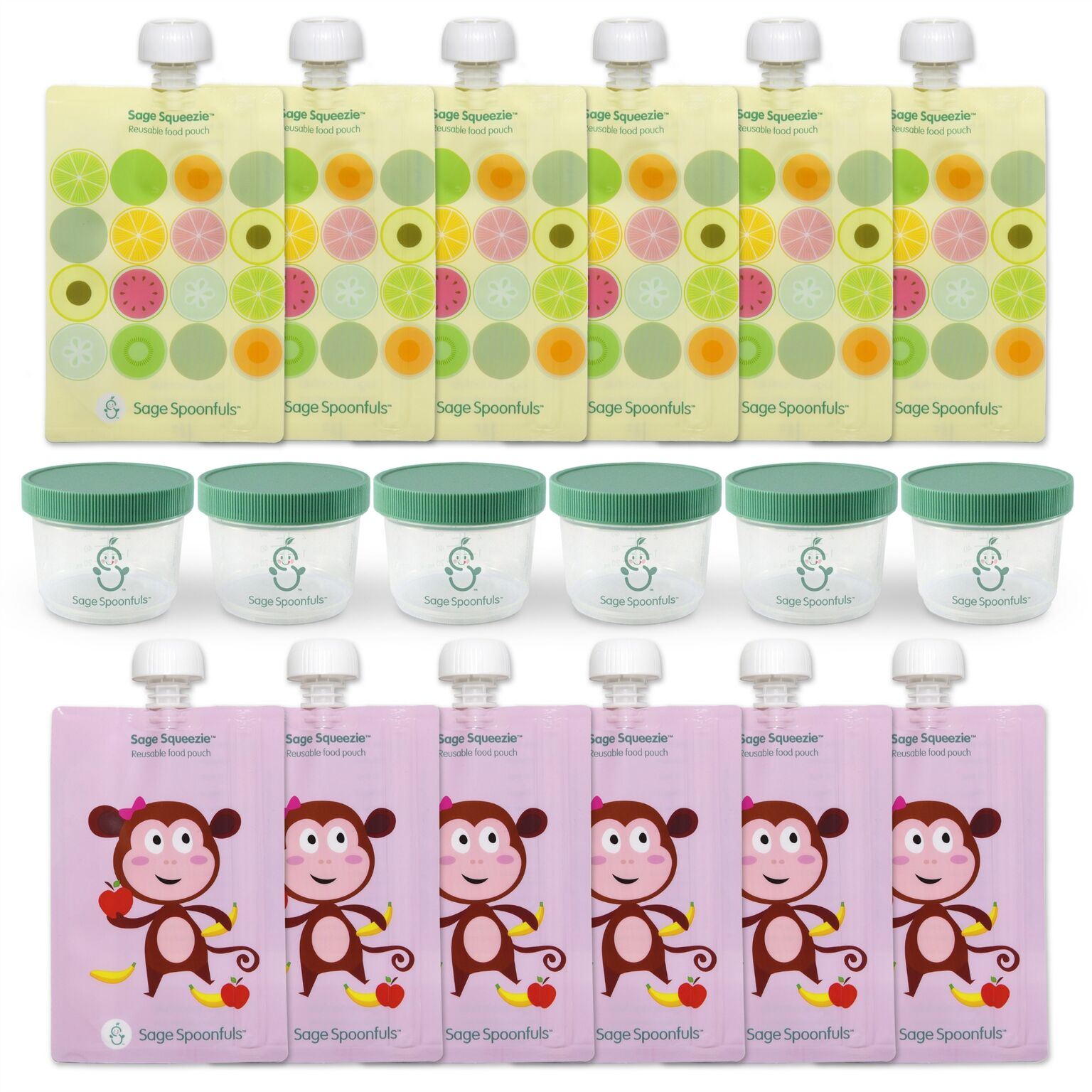 Sage Spoonfuls Made with Love Baby Food Storage Container and Reusable Food Pouch, Monkey/Fruit Dots,18-Piece Set