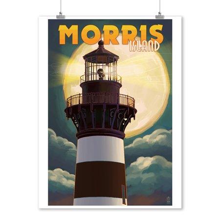 Morris Island, South Carolina - Lighthouse & Moon - Lantern Press Artwork (9x12 Art Print, Wall Decor Travel Poster)