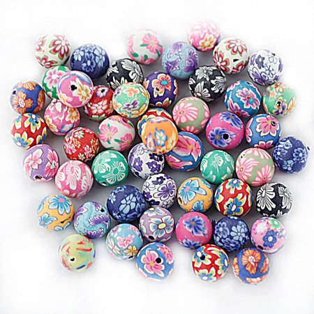 10mm Colored Round Beads Polymer Clay Beads DIY Craft Beads for Bracelet Necklace Fimo Jewelry Accessory (Mixed Color), 50pcs Pack ()