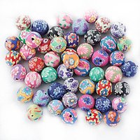 10mm Colored Round Beads Polymer Clay Beads DIY Craft Beads for Bracelet Necklace Fimo Jewelry Accessory (Mixed Color), 50pcs Pack