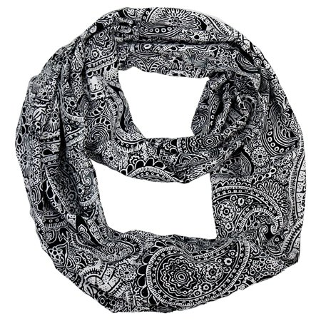 Peach Couture  Colorful Victorian Damask Lightweight Black and White Infinity Loop Scarf - Medium