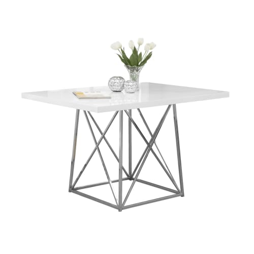 """Monarch Dining Table 36""""X 48""""   White Glossy   Chrome Metal by Monarch Specialties"""