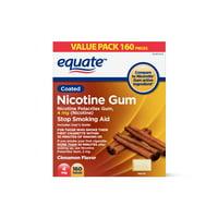 Equate Coated Nicotine Polacrilex Gum, 4 mg, Cinnamon Flavor, Stop Smoking Aid, 160 Count