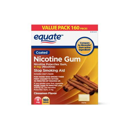 Equate Nicotine Gum, Cinnamon Flavor, 4 mg, 160
