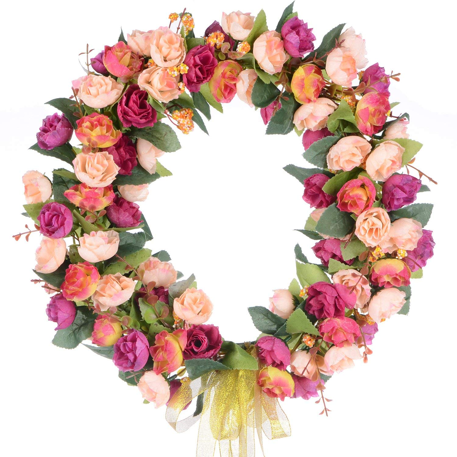 Coolmade Artificial Rose Flower Wreath, Door Wreath 14 Inch Fake Rose  Spring Wreath Nearly Natural Round Wreath For Front Door, Wall, Party, Home  ...