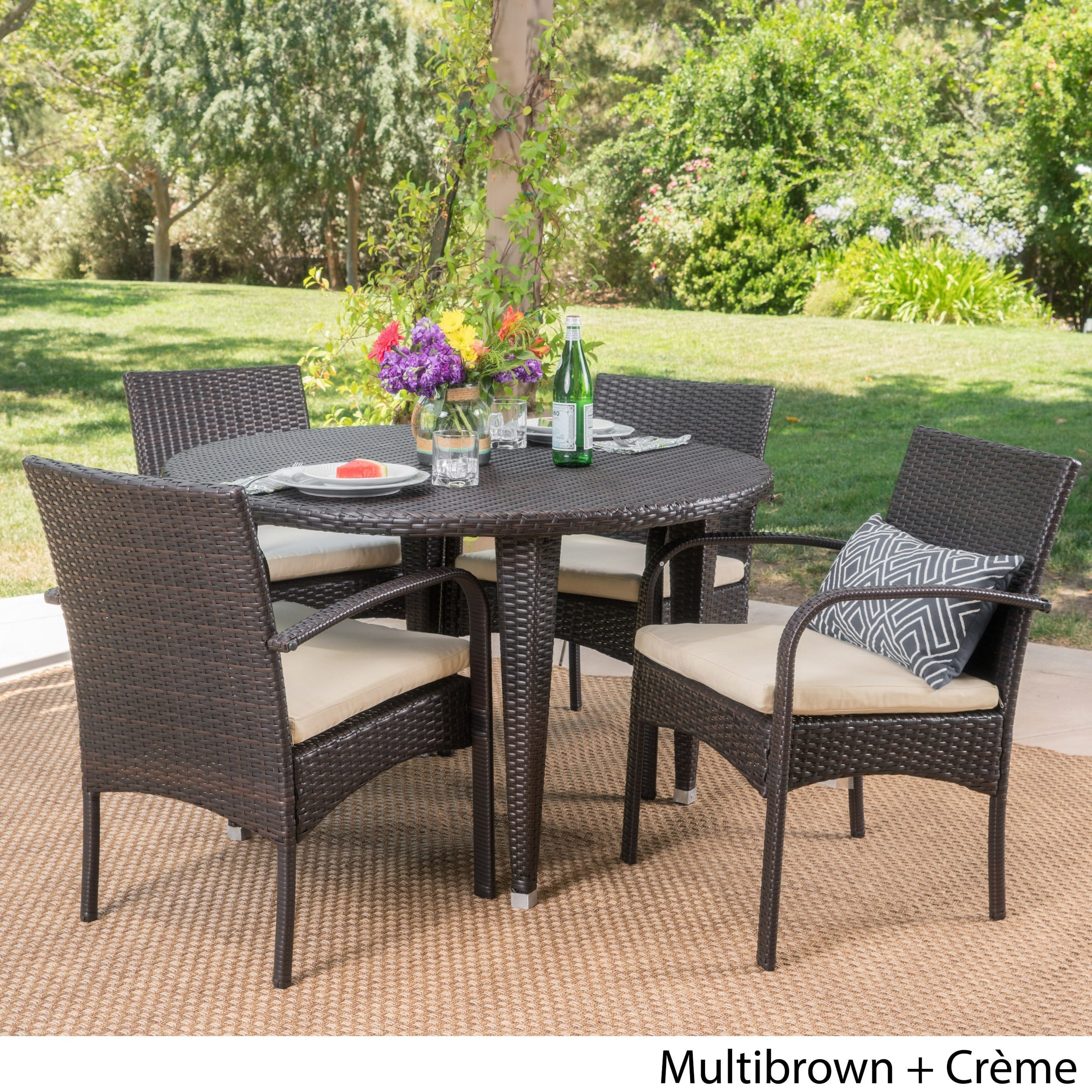 Christopher Knight Home Marin Outdoor 5 Piece Round Dining Set With Cushions By