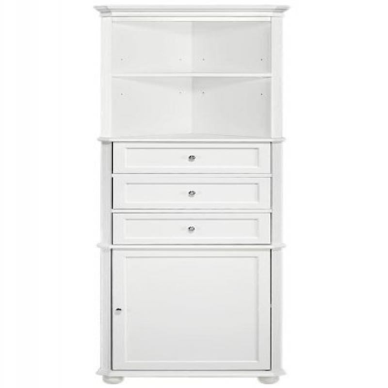Hampton Bay Corner Linen Bath Cabinet I, 3 DRAWER, WHITE