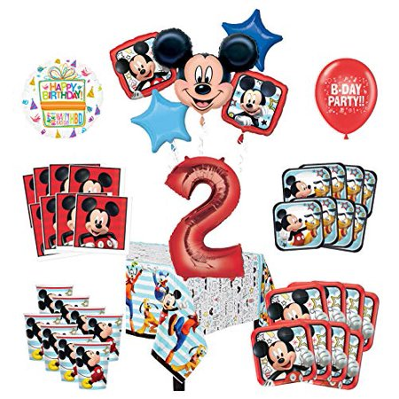Mayflower Products Mickey Mouse and Friends 2nd Birthday Party Supplies 8 Guest Decoration Kit and Balloon Bouquet - Mickey Mouse 2nd Birthday
