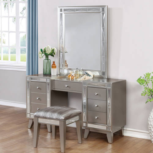 Coaster Company Leighton Vanity Desk and Stool, Metallic Mercury ()