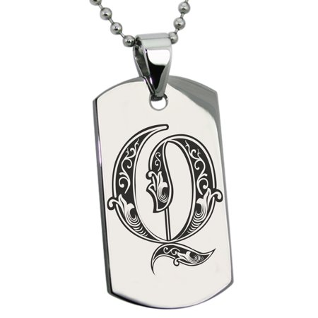Stainless Steel Letter Q Initial Royal Monogram Engraved Engraved Dog Tag Pendant - Engraved Monogram