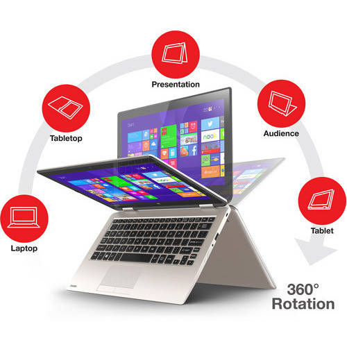 "Toshiba Satin Gold 11.6"" Satellite Radius 11 2-in-1 Laptop PC with Intel Celeron N2840 Processor, 2GB Memory, touch screen, 32GB Hard Drive and Windows 8.1  (Eligible for Windows 10 upgrade)"