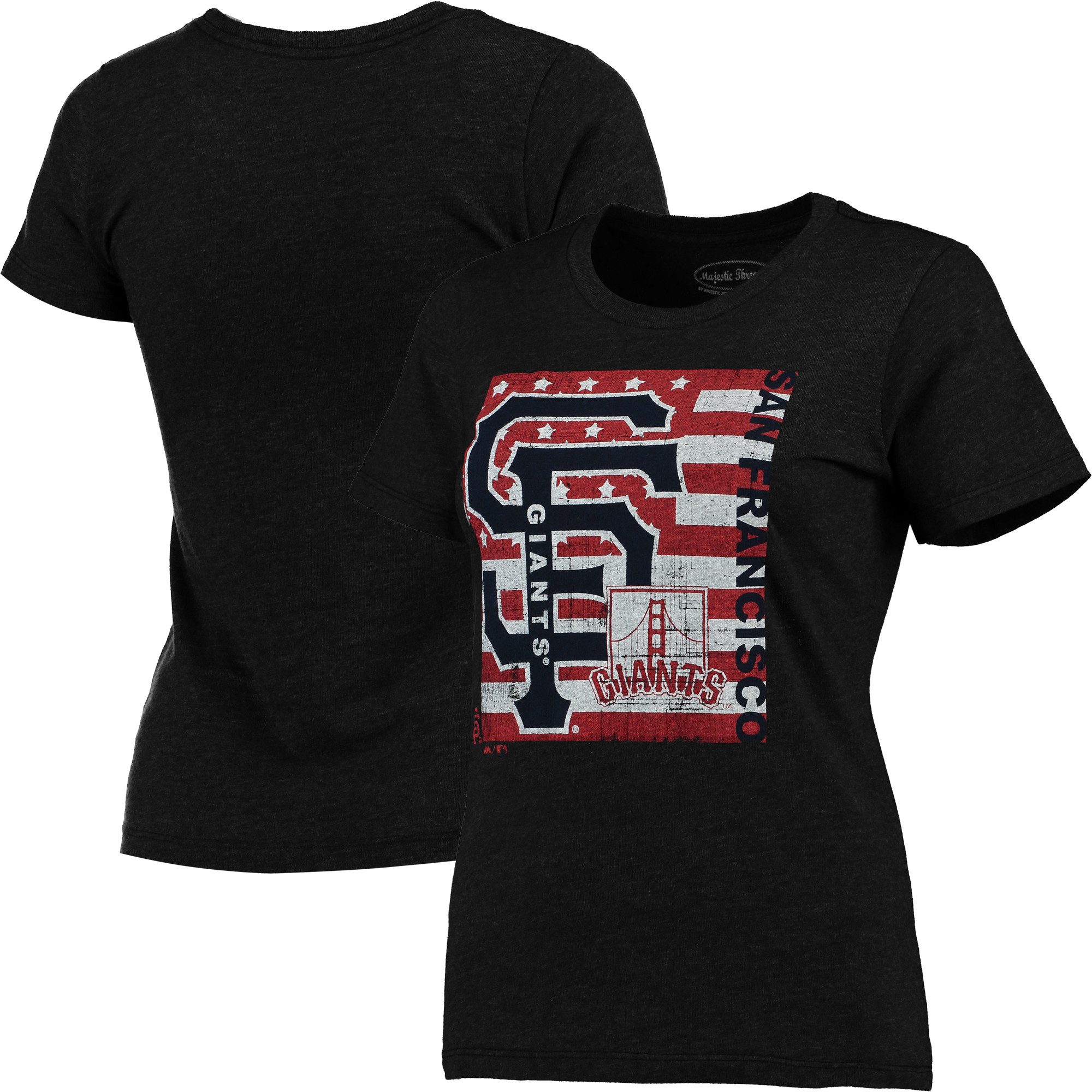 San Francisco Giants Majestic Threads Women's Stars & Stripes Flag T-Shirt - Black