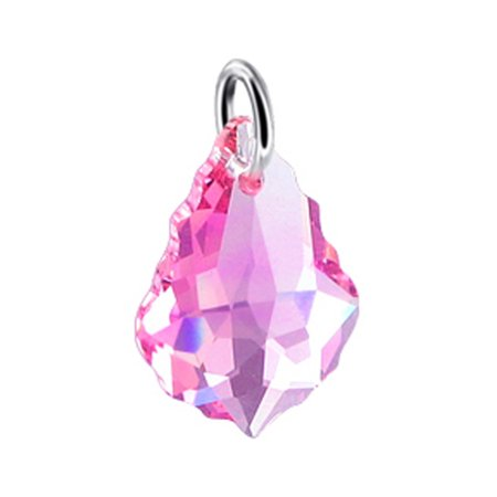 Gem Avenue Sterling Silver Baroque Crystal Charm Pendant Made with Swarovski Elements