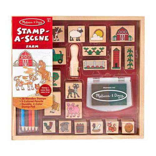 Melissa & Doug Stamp-a-Scene Wooden Stamp Set: Farm 20 Stamps, 5 Colored Pencils, and... by Melissa & Doug