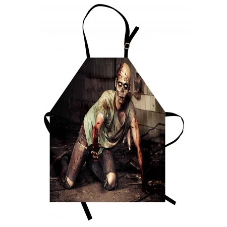 Zombie Apron Halloween Scary Dead Man in the Old Building with Bloody Head Nightmare Theme, Unisex Kitchen Bib Apron with Adjustable Neck for Cooking Baking Gardening, Grey Mint Peach, by Ambesonne](Halloween Themed Cooking Ideas)