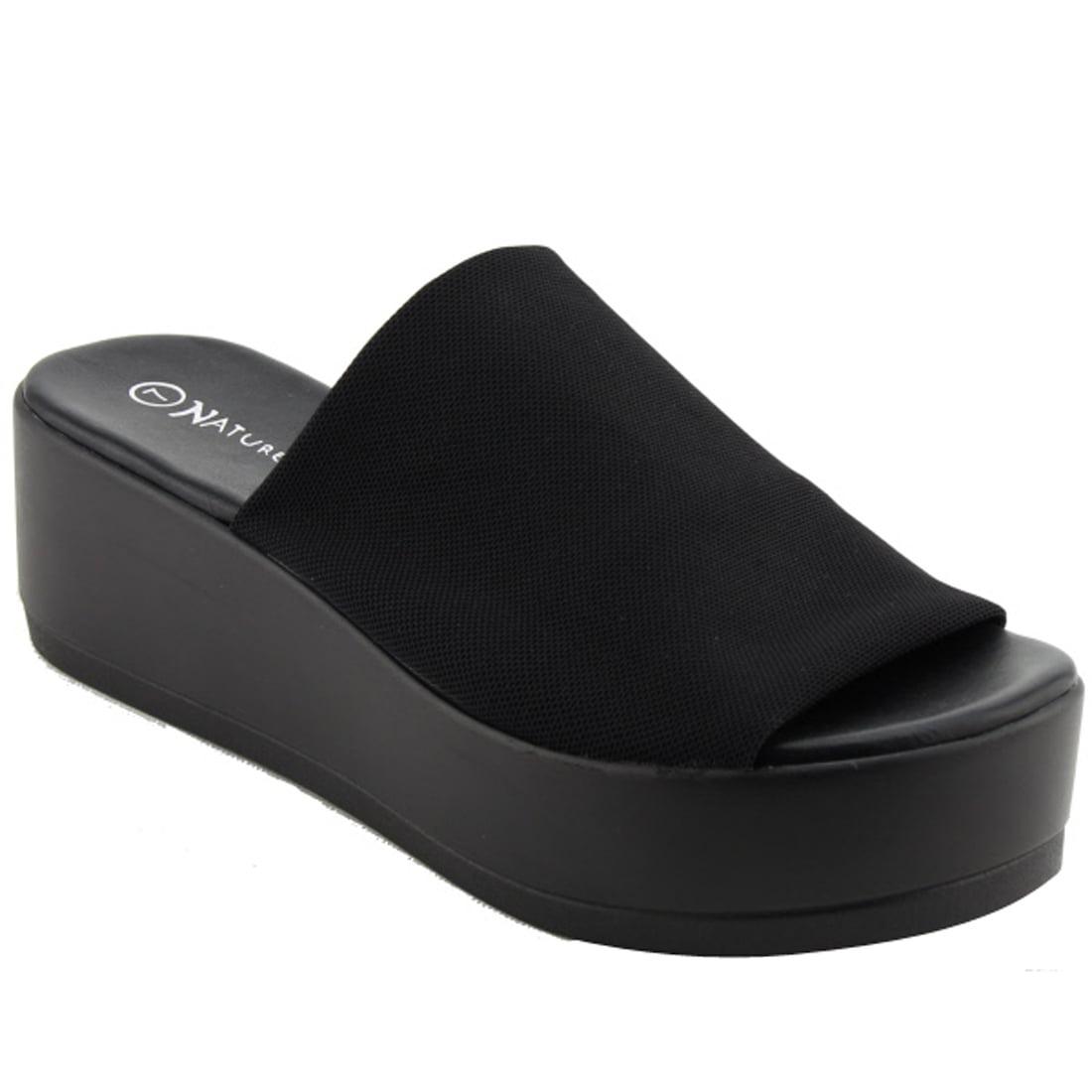 black stretchy platform sandals