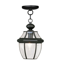 Pendants Porch 1 Light With Clear Beveled Hand Crafted Solid Brass Black size 8.5 in 100 Watts - World of Crystal