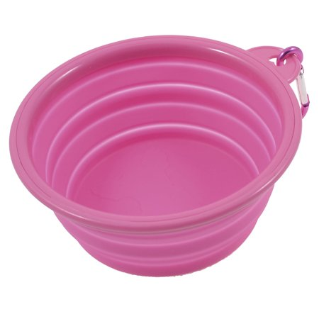 Unique Bargains Household Pink Soft Silicone Pet Puppy Dog Cat Water Food Bowl W Hook