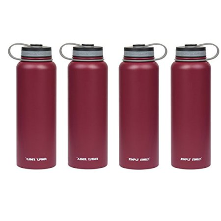 Dealmor Stainless Steel Water Bottle, Wide Mouth Double Wall Vacuum Insulated, 40 Oz Red (Pack of 4) - image 1 de 1