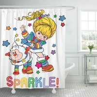 CYNLON Colorful Sprite Classic Rainbow Brite and Twink Sparkle 80S Bathroom Decor Bath Shower Curtain 60x72 inch