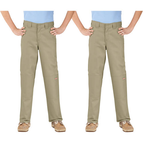 Dickies Boys School Uniforms Double-Knee Twill Wrinkle Resistant Pants, 2-Pack Value Bundle