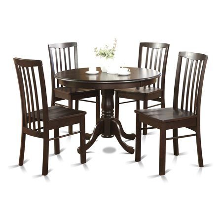 East West Furniture Hartland 5 Piece Round Pedestal Dining Table Set Collection 5 Piece Pedestal Table