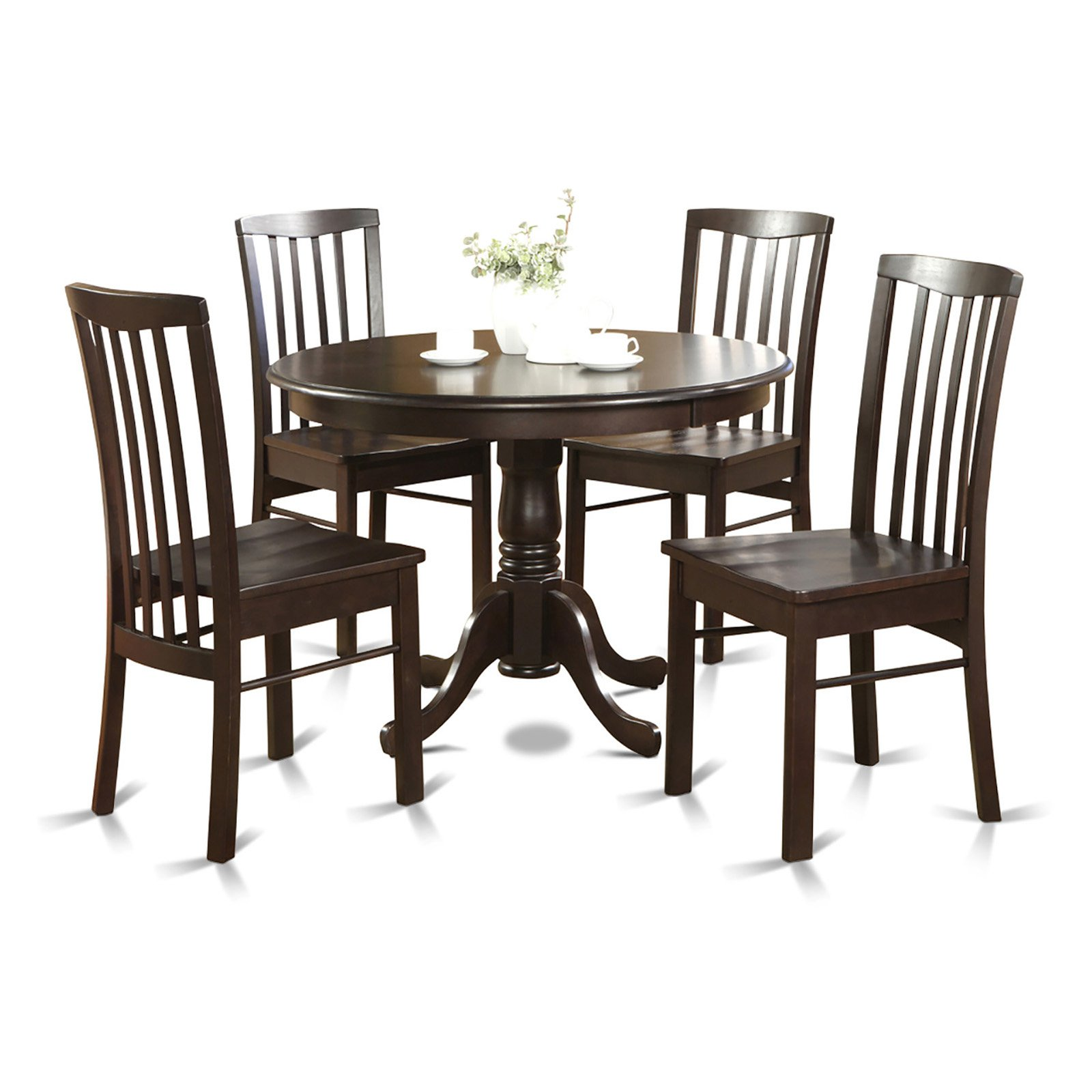 East West Furniture Hartland 5 Piece Round Pedestal Dining Table Set